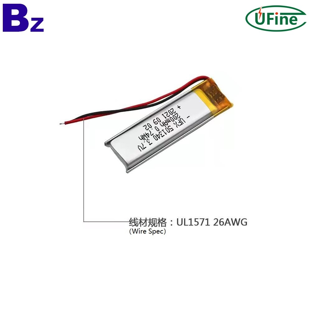 501340 3.7V 200mAh Lipo Battery