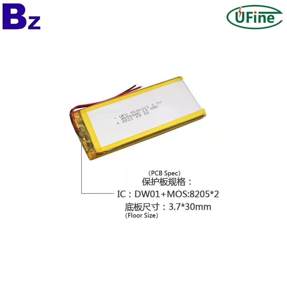 8040103 3.7V 4000mAh Li-ion Polymer Battery