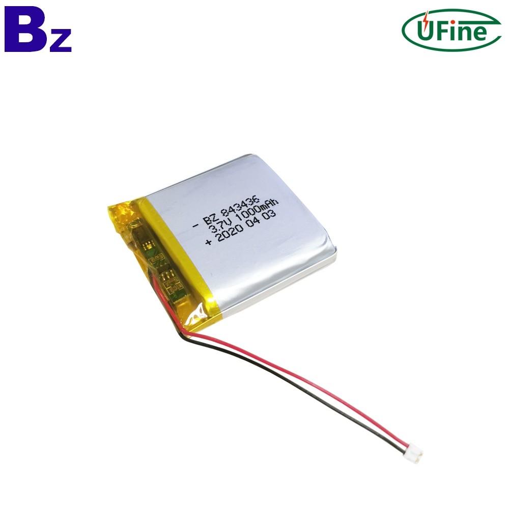 843436 3.7V 1000mAh Li-ion Polymer Battery